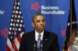 President Barack Obama pauses as he addresses members of the Business Roundtable on Sept. 18, 2013, in Washington.