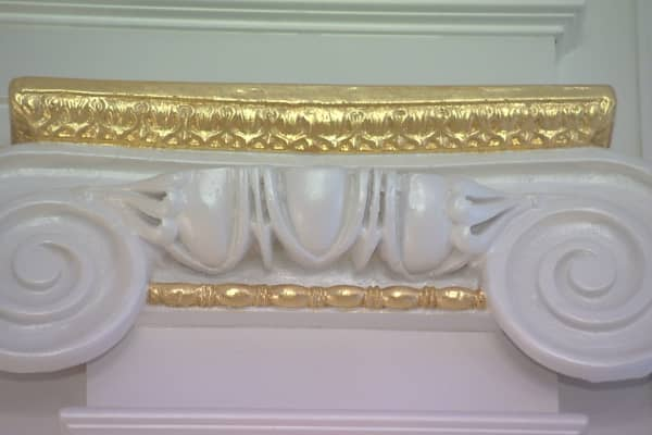 Gold trim in grand ballroom of Stone Mansion in Alpine, NJ.