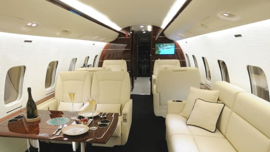 Interior jet plane design by Eric Roth.  Credit:  International Jet Interiors.