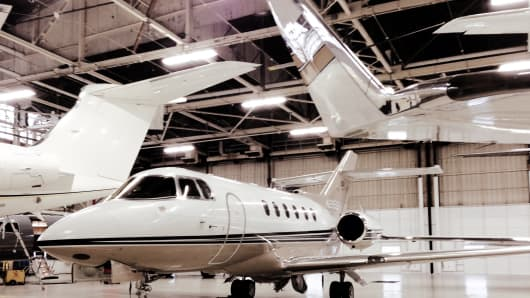 Private jet hanger in New York.