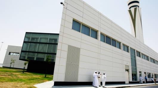 Control tower building at World Central-Al Maktoum International Airport, in Dubai, United Arab Emirates.