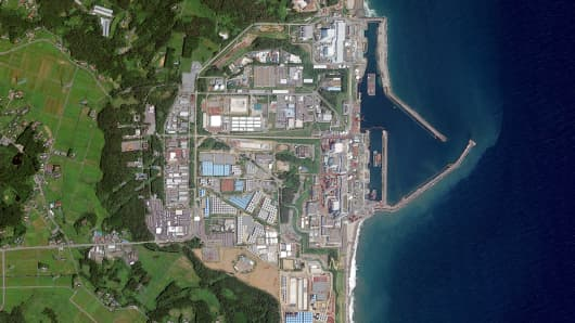 This is a satellite image of the Fukushima Nuclear Reactor in Okuma, Fukushima Prefecture.