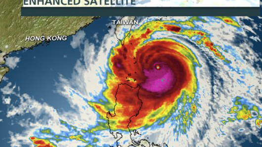 A satellite image of Typhoon Usagi on course to hit the Philippines.