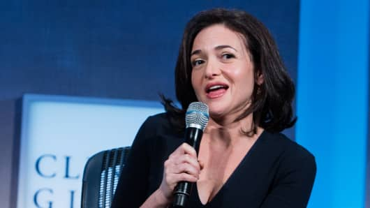 Sheryl Sandberg participates in a panel discussing Mobilizing for Impact at the Clinton Global Initiative annual meeting in New York.