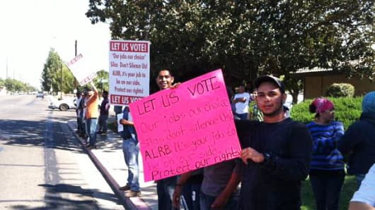 California farm workers protest to be allowed to vote to decertify the UFW.