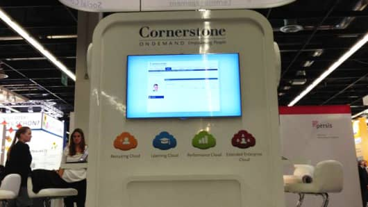 Cornerstone OnDemand kiosk at trade show