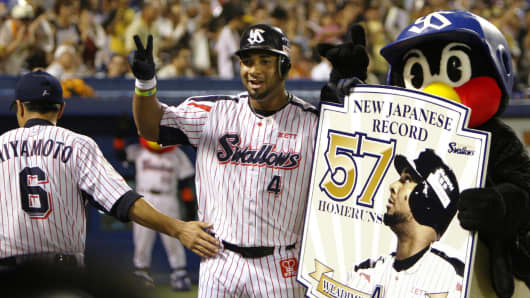 Outfielder Wladimir Balentien of the Tokyo Yakult Swallows.