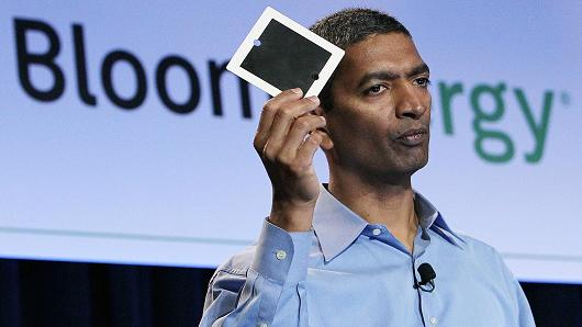 Bloom Energy CEO K. R. Sridhar at a product launch in 2010 at eBay headquarters in San Jose, California