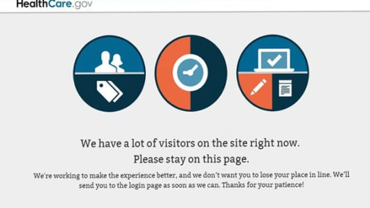 HealthCare.gov experiencing heavy traffic to sign up for health insurance in the first days that Obamacare took effect.