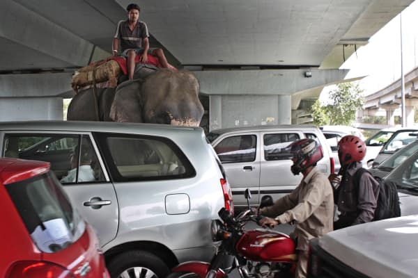 A traffic jam in New Delhi, India.