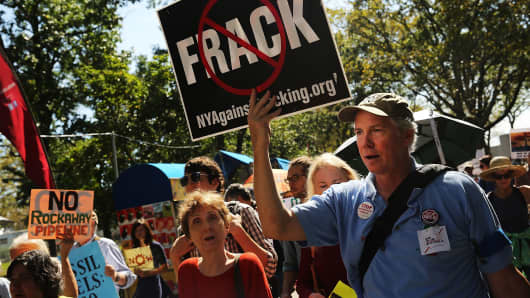 Anti-fracking activists demonstrate in New York City.