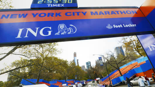The finish line of the canceled 2012 New York City Marathon.