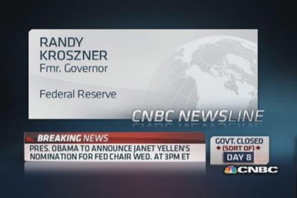 Yellen has been 'battle tested' in tough times: Kroszner