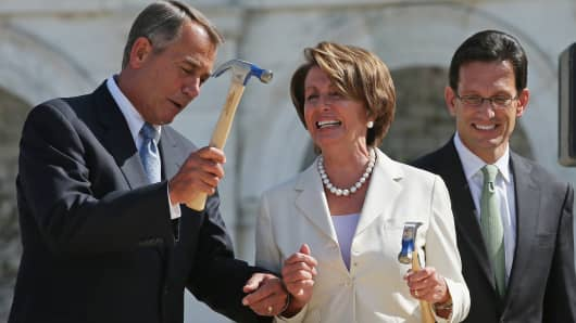 File photo with John Boehner, Nancy Pelosi and Eric Cantor.