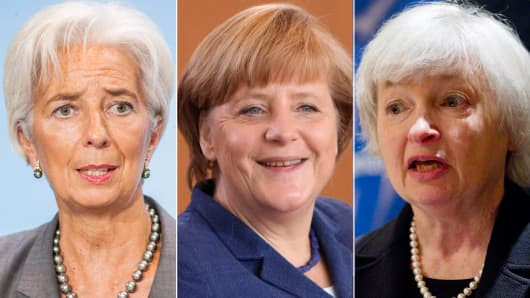 Christine Lagarde, Angela Merkel and Janet Yellen.