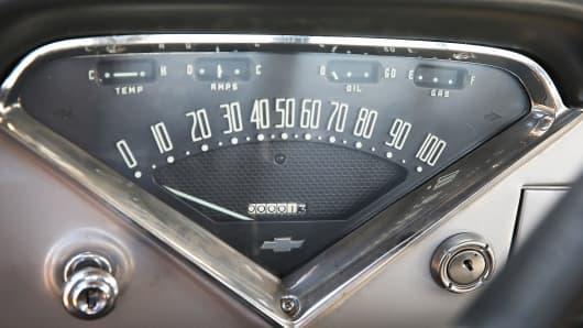 The odometer of a 1958 Chevrolet Cameo truck, at the Lambrecht family farm, reads 1 mile on September 26, 2013 in Pierce, Nebraska.