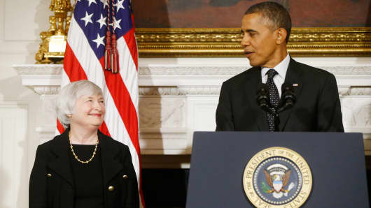 President Barack Obama stands with Janet Yellen where he announced he is nominating Yellen to be chair of the Federal Reserve, replacing Ben Bernanke.