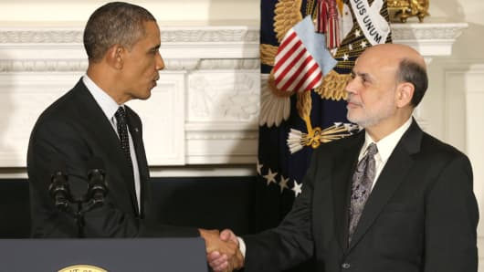 President Barack Obama and Federal Reserve Chairman Ben Bernanke after the president nominated Janet Yellen to head the Fed.