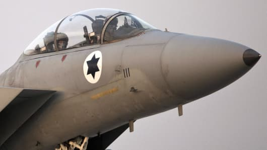 Stock photograph of an Israeli F-15 Eagle fighter jet
