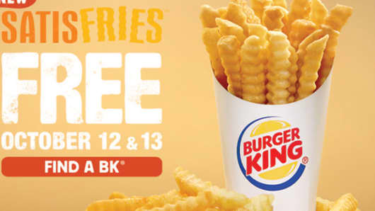 "Burger King is giving away free ""Satisfries"" for two days in October."