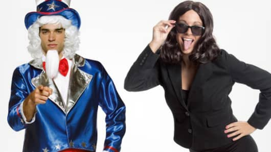 Uncle Sam and Shutdown Lady costumes