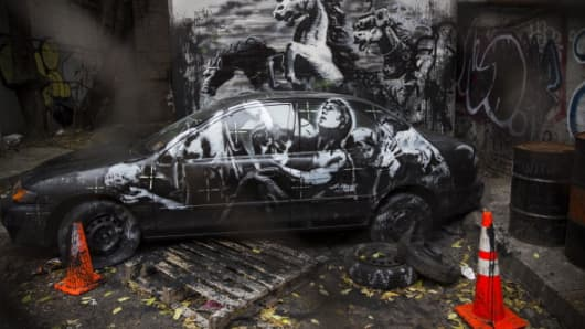 A Banksy work is seen in the Lower East Side neighborhood of New York City