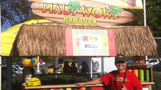San Diego-based Ron Putman, regional developer for Maui Wowi Hawaiian, a franchise of cart-based smoothies and coffee, has been hit by the partial shutdown.