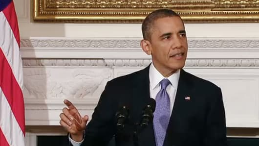 President Barack Obama addresses the end to the debt ceiling crisis on Oct. 17, 2013.