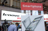 Lenovo Group Ltd. advertising on display at the IFA consumer electronics show in Berlin.