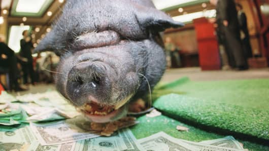 Hogging cash.