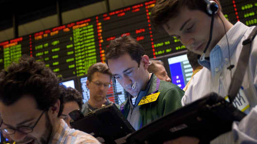 Traders in the crude oil options pit at the New York Mercantile Exchange.