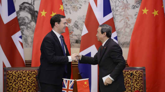 Britain's Chancellor George Osborne shakes hands with Chinese Vice premier Ma Kai