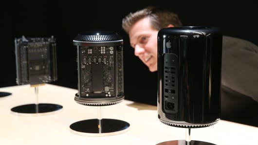 Apple's new Mac Pro on display at an event in Cupertino, California.
