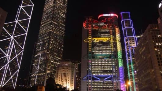 HSBC changed the colors of their headquarters to rainbow in honor of Out on the Street: Asia