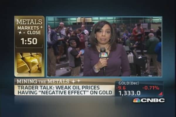 Gold lower on profit taking