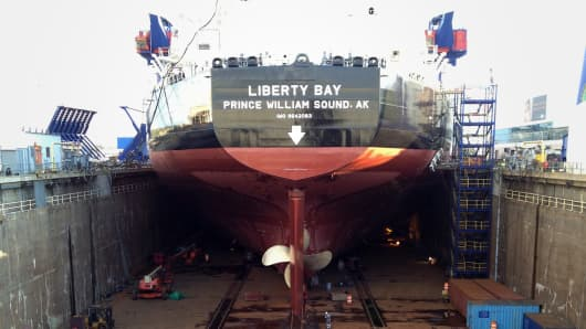 The tanker Liberty Bay under construction at the Aker yard in Philadelphia.