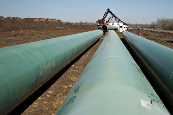 Part of TransCanada's Keystone XL pipeline under construction in Atoka, Oklahoma.