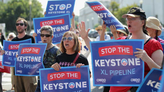 Activists stage a sit-in and protest against the Keystone XL pipeline outside the State Department in August.
