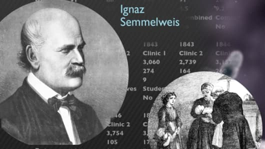 Detail of Ignaz Semmelweis's germ theory data chart