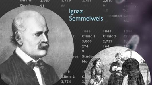 Detail of Ignaz Semmelweis's germ theory data chart