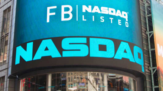 The exterior facade of the NASDAQ market on the first day of Facebook trading on May 18, 2012.