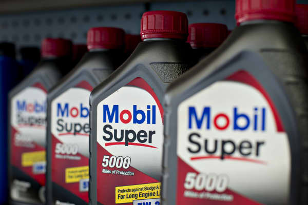 Exxon Mobil brand motor oil is displayed for sale at a gas station at the Kickapoo Service Center in Edwards, Illinois