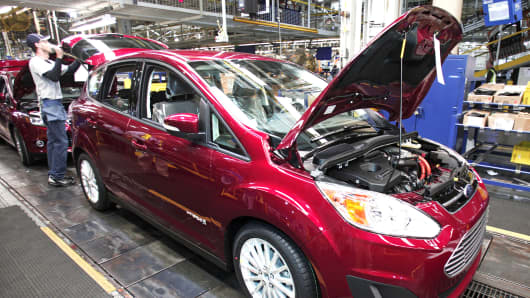 A Ford C-MAX hybrid vehicle goes through assembly at the Michigan Assembly Plant in Wayne, Michigan.