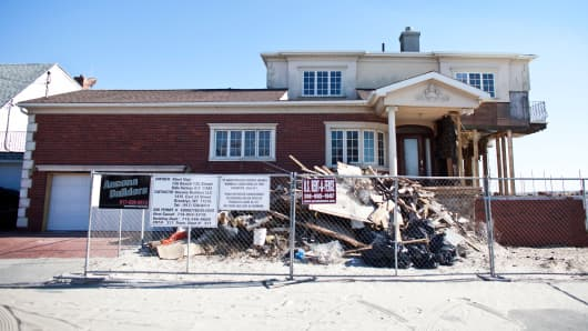 A house damaged by Hurricane Sandy on October 26, 2013, in the Belle Harbor section of Queens, New York City.