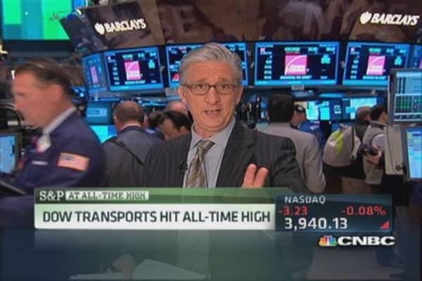 Transports close at record high