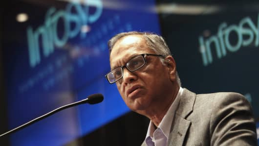 ounding member of Infosys, N.R. Narayana Murthy, speaks at a press conference at the company's headquarter in Bangalore.