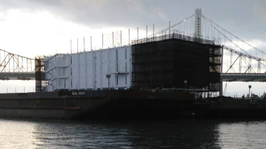 The suspected Google barge docked in San Francisco Bay.