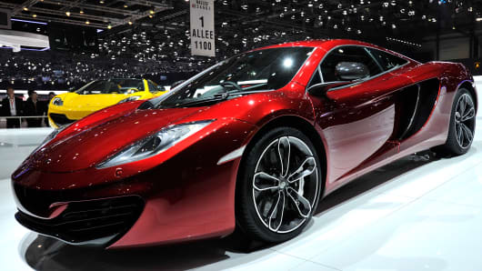 A McLaren P1 is shown during the Geneva Motor Show in March 2013.