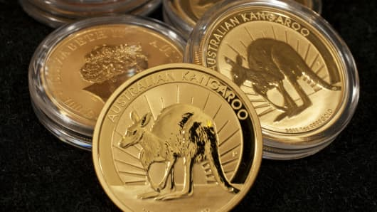 One ounce gold bullion coins at the Perth Mint in Perth, Australia