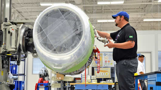 Production on an Embraer SA Phenom 300 jet at the company's executive jet manufacturing facility in Melbourne, Florida.